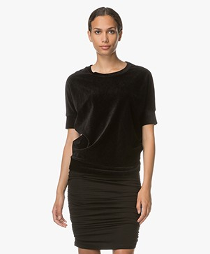 Majestic Velvet T-shirt with Cashmere - Black