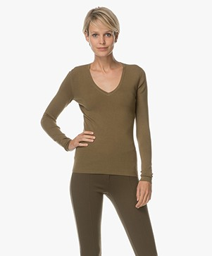 Joseph V-neck Pullover in Silk Blend - Moss Green
