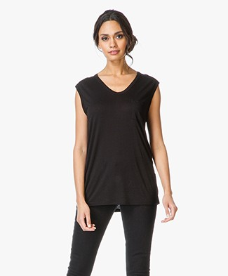 T by Alexander Wang Classic Muscle Tee with Pocket - Zwart