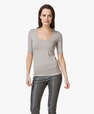 Majestic Viscose Round Neck T-shirt