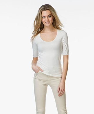 Majestic Viscose T-shirt with Round Neck