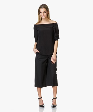 Theory Joscla Silk Off-Shoulder Blouse - Black