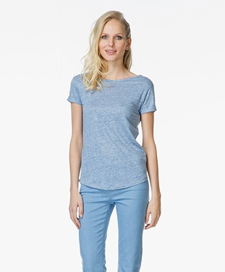 Majestic Linen T-shirt with Open Back
