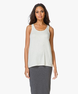Vince Luxe Rib High Neck Drape Tanktop - Heather White
