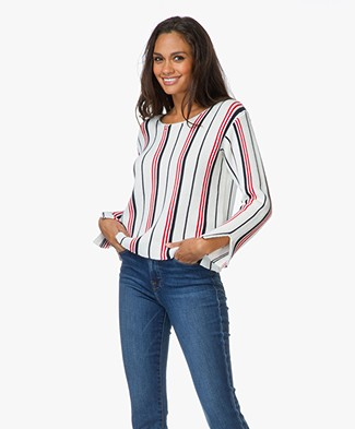 Frame Le Cropped Vertical Striped Sweater - Vertical Stripe