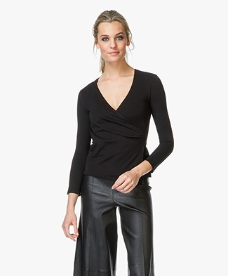 Theory Karlista Wrap Top - Black