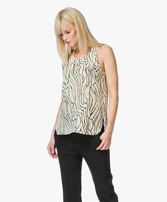 By Malene Birger Hanaon Silk Printed Top - Cream