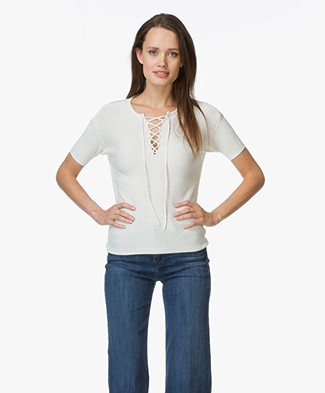 Frame Le Crochet Lace-up Top - Off-white