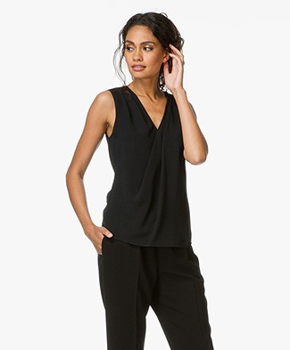 Alexander Wang Sleeveless Wrap Top  - Black