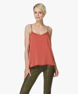 Repeat Silk Top with Lace - Cinnamon