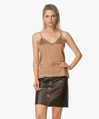 Mes Demoiselles Silk Top with Lace - Bronze