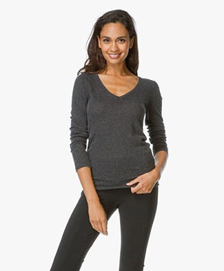 Majestic  V-neck T-shirt in Cotton-Cashmere