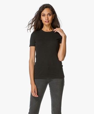 Petit Bateau R-hals T-Shirt in Katoen - Black