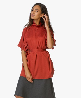 Filippa K Zip Collar Belt Top - Rust Red