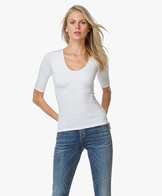 T by Alexander Tee With Back Slit - White
