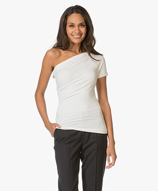 Helmut Lang One-shoulder stretch-jersey Top - Off-white