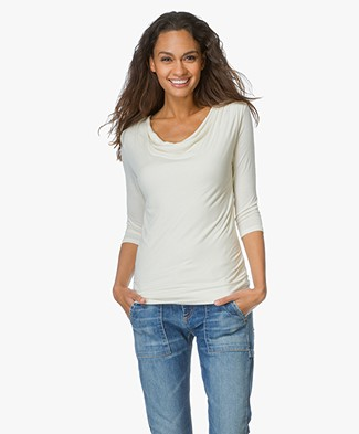 Majestic Shirt with Draped Cowl Neckline - Cream