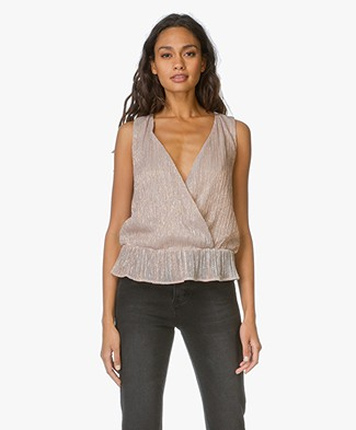 Anine Bing Draped Rose Metallic Top - Rose
