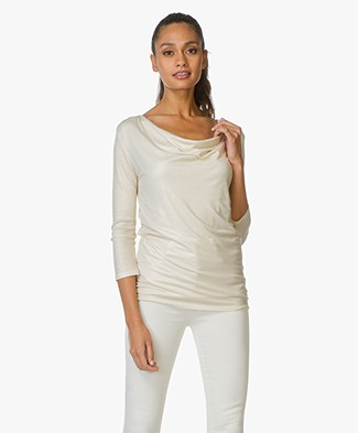 Majestic Lurex Top with Waterfall Neck - Gold Milk