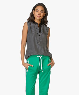 Rag & Bone Tennant Shell Silk Top - Black/White
