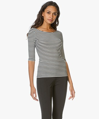 Theory Back Scoop Neck Stripe Tee Yorsia - Black/White
