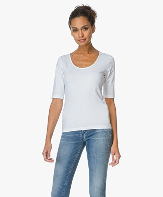 Filippa K Fine Lycra Scoop T-shirt - Wit