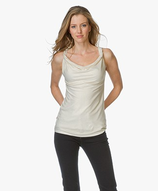 Majestic Draped Top with Lurex - Gold Milk
