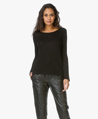 Majestic Cashmere Pullover with Buttons  - Black