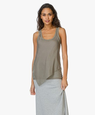 Majestic Sleeveless Asymmetric Tank Top - Army