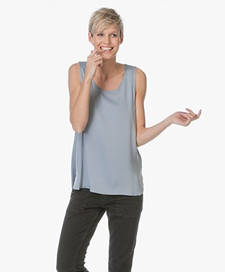 Repeat Basic Silk Top - Lake