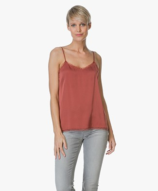 Repeat Silk Top with Lace - Brick
