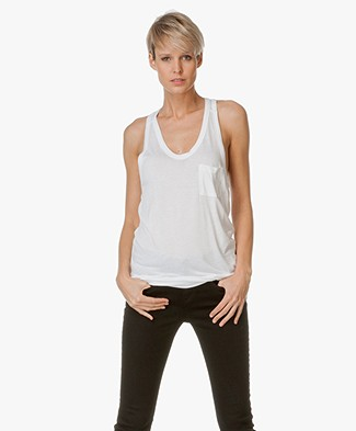 T by Alexander Wang Classic Tank with Pocket - White