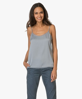 Repeat Silk Top with Lace - Lake