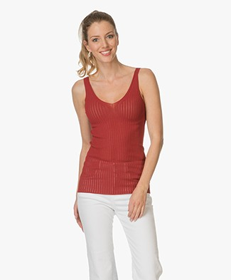 Drykorn Minka Top in Rib - Red