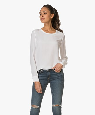 Equipment Liam Silk Top - Off-white