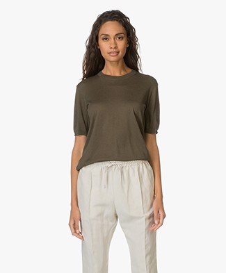 Theory Top Tolmaya in Silk and Cashmere Blend - Myrtle