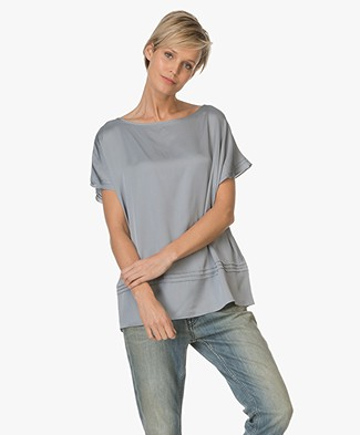 Repeat Silk Blend Top - Lake