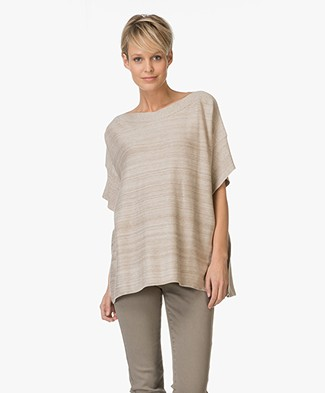 Repeat Cotton Poncho Sweater - Clay