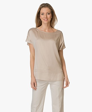 Repeat Silk Blend Top - Sand