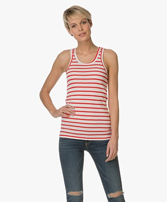 Petit Bateau Striped Top - Red/Off-white