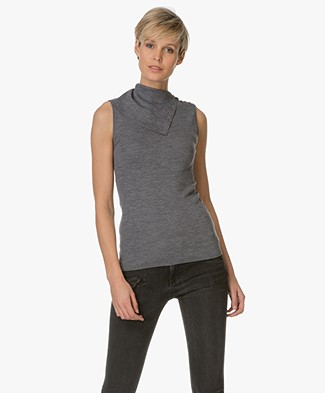 Theory Sleeveless Top with Turtleneck - Medium Grey
