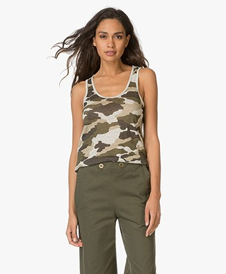 Majestic Camouflage Printed Linen Tank Top - Khaki