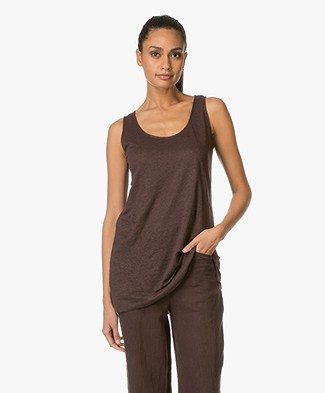 Kyra & Ko Caro Linen Tank Top - Chocolate
