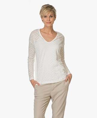 Majestic Broderie Anglaise Linen Long Sleeve - Milk