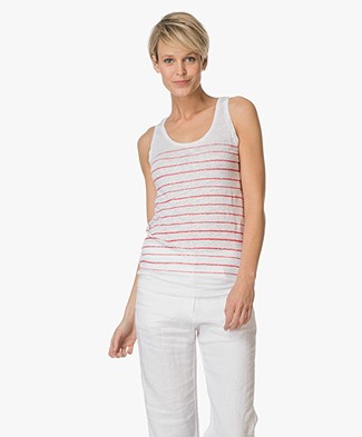 Majestic Striped Linen Tank Top - White/Cherry