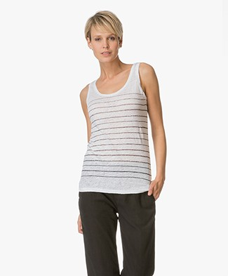 Majestic Striped Linen Tank Top - White/Black
