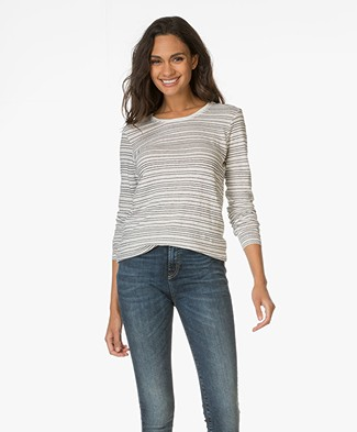 Denham Sail Striped Top in Linnen - Milk/Dark Blue
