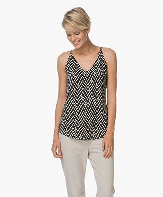 JapanTKY Suzu Sleeveless Print Top - Black/Sand