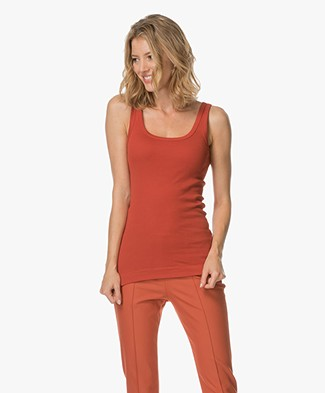 By Malene Birger Ribbed Tank Top Newdawn - Autumn Red