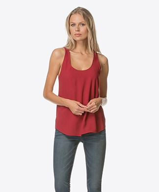 Theory Bintilra Bow-tie Back Tank - Crimson Red